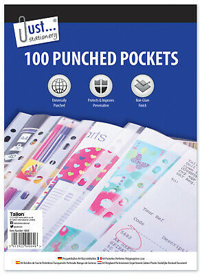 A4 Clear Plastic Punched Pockets Poly Folders Filing Wallets Sleeves Multipacks