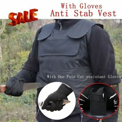 Anti-Stab Vest+Anti-Knifed Gloves Body Self-Defense Security Protection Set H#K