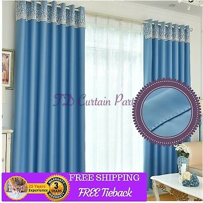 Blockout Blue Fabric Valance Design Drapes Bedroom Sheer Curtains Eyelets Pleats