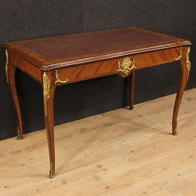French writing desk table secrétaire wooden bronze golden antique style 900 XX