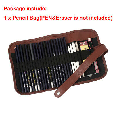 24Pcs Sketch Pencils case Charcoal Extender Pencil shade Cutter Drawing Bag ME