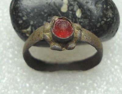 Ancient Roman Ring with a Red stone Original Authentic Antique Rare R57