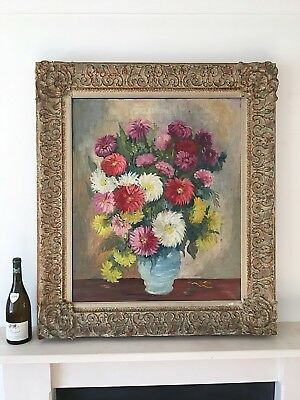 Large Antique Oil Painting Still Life Flowers Gilt Gesso Rococo Frame 19th C