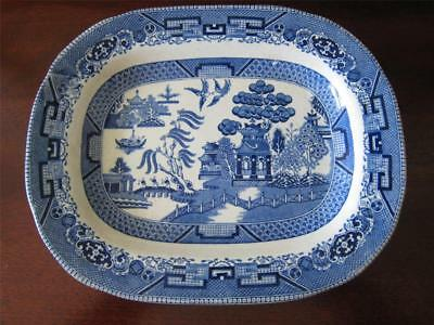 Antique BLUE WILLOW Buffalo Pottery 1908 Oval Deep Well 10.5 in. Platter AS IS