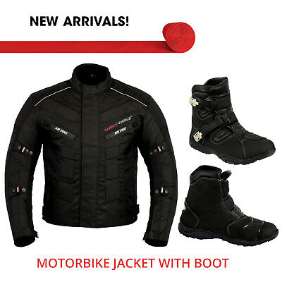 Motorbike Codura Armoured Jacket Waterproof Motorcycle Leather Boot Touring Shoe