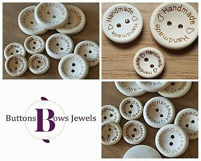 """Natural Wooden """"Handmade"""" With Love Hearts Buttons Embellishment- Various Sizes"""