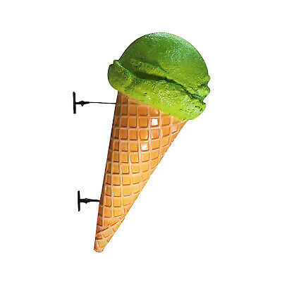 Lime Ice Cream Cone Wall Mount Sherbet Advertising Street Sign Old Waffle Shop