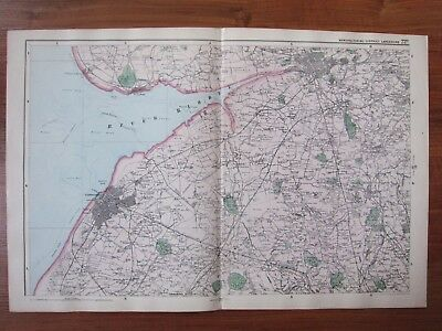 c1898 ANTIQUE MAP MANUFACTURING DISTRICT LANCASHIRE SHEET A - RAILWAY STATIONS