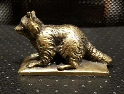 Vintage 1950s Solid Brass Raccoon Paperweight Figurine Heavy 2.5""