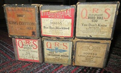 Lot Of 6 Vintage Player Piano Roll, Qrs, International, Melodee, 630,1444,9659,3
