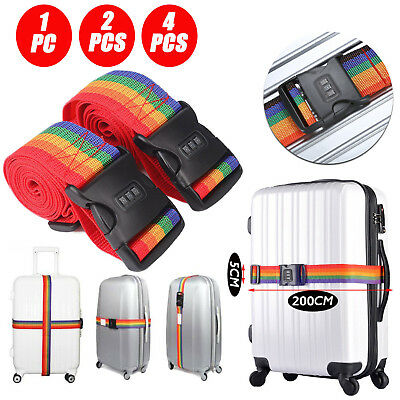 1/2/4 Pack Travel Luggage Suitcase Strap Rainbow Color Belt Baggage Backpack Bag