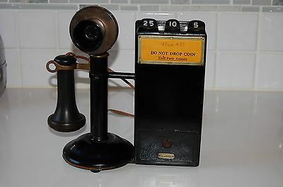 Antique Rare Gray Telephone Pay Station  Portable American Bell November 1910's