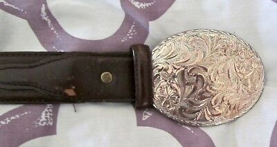 Nocona Leather Belt w/ Justin Silver Buckle Mens Size 36