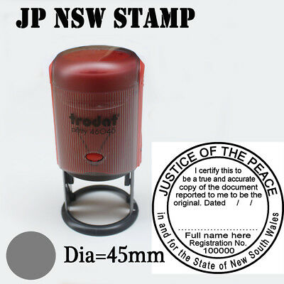 NSW JUSTICE OF THE PEACE STAMP Custom Self Inking Rubber ROUND 45mm
