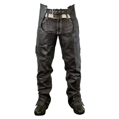 Leather Chaps - Zip-Out Insulated and Lined Plain Biker Motorcycle Chaps
