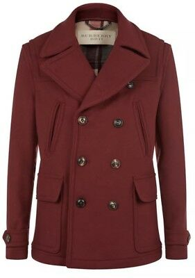 d3eb47315 NWT BURBERRY MEN S Brantford Double Breasted Pea Coat Maroon SZ  M ...