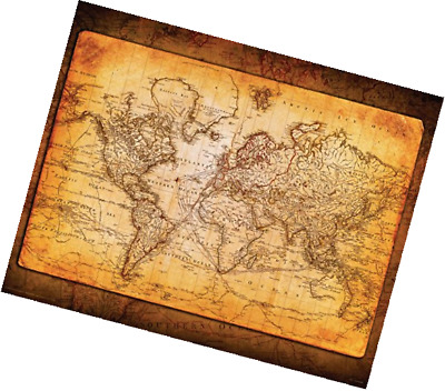 WORLD MAP Antique Vintage Old Style Decorative Educational Poster - 16x20 world map