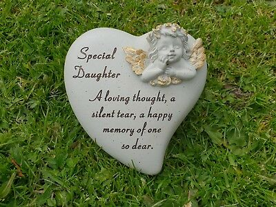 Daughter Grave Memorial Ornament Remembrance Cherub Heart Plaque Daughter