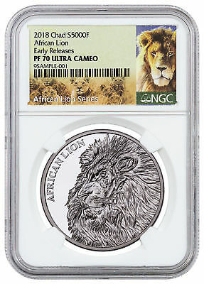 2018 Republic of Chad African Lion 1 oz Silver 5,000F NGC PF70 UC ER SKU51662