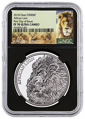 2018 Republic of Chad African Lion 1 oz Silver NGC PF70 UC FDI Black SKU51665