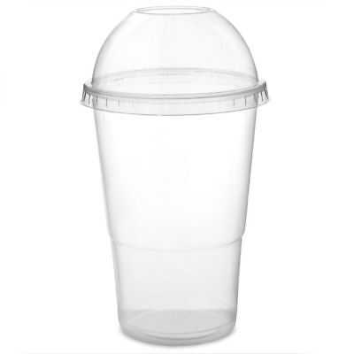 250 x 8oz Disposable Smoothie Cups & Domed Lids Clear Plastic Party Milkshake