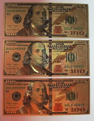 3 PACK of 24K GOLD PLATED $100 DOLLAR BILL'S NEW STYLE WITH SLEEVE FREE SHIP!