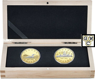 2017 '2-Coins Set of the 30th Ann. of the Loonie' Prf $1 .9999Gold 1oz.(18141)NT