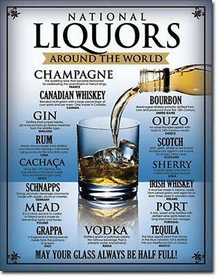 National Liquors Around the World Wine Liquor Beers Alcohol Humor Metal Sign