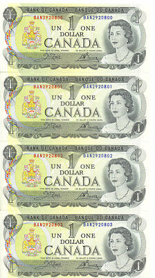 Bank of Canada 1973 $1 One Dollar Lot of 4 Consecutive Notes Crow-Bouey GEM UNC