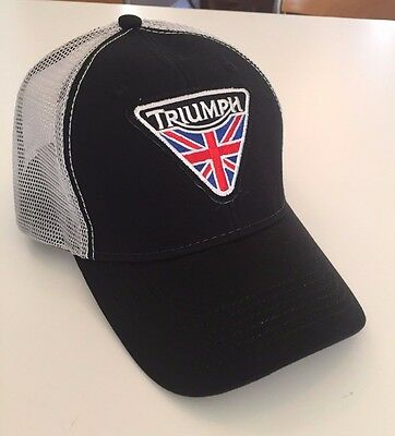 NEW TRIUMPH MOTORCYCLE Trucker Hat   Cap Black Adjustable One Size ... ab5c48ae94d