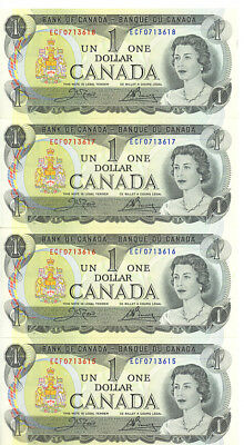 Bank of Canada 1973 $1 One Dollar Lot of 4 Consecutive Notes GEM UNC