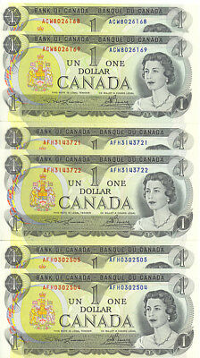 Bank of Canada 1973 $1 One Dollar Lot of 3 Consecutive Pairs GEM UNC