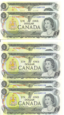 Bank of Canada 1973 $1 One Dollar Lot of 6 Notes 2 Pairs Consecutive GEM UNC