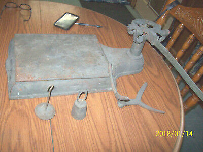 Large Antique Cast Iron  Scale  Platform Country Store For parts
