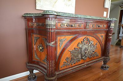 French Empire Revolu Commode, 19th C. Louis XVI Style, Marble, Inlay, Marquetry