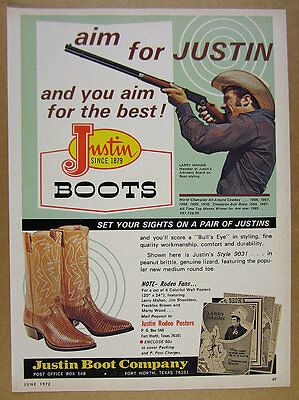 1972 larry mahan photo Justin Boots western cowboy vintage print Ad
