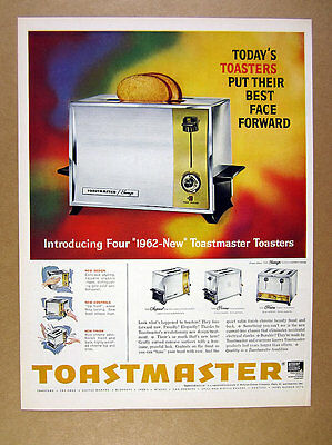 1961 Toastmaster Sovereign Toaster 4 models GREAT color art vintage print Ad