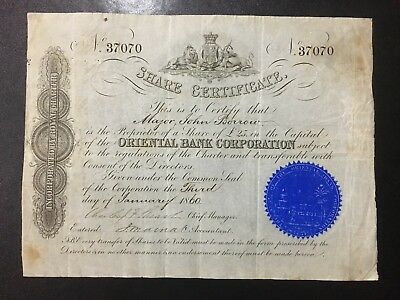 China Chinese 1860 Oriental Bank Corporation Share Certificate 東藩滙理銀行