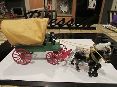 "RARE VINTAGE ANTIQUE KENTON CAST IRON HORSE DRAWN COVERED WAGON 1900s ""MINT"""