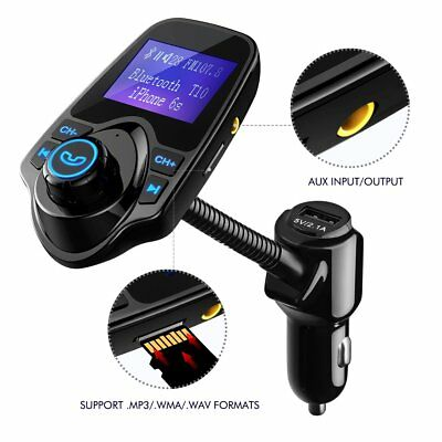 VicTsing Bluetooth FM Transmitter Wireless Radio Adapter USB Charger MP3 Player