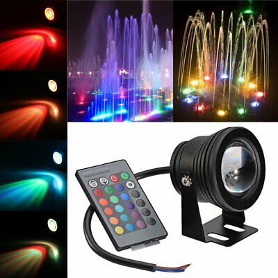 10W RGB LED Light Underwater Fountain Pool Pond Spotlight Waterproof IP68+Remote