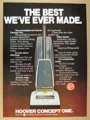 1978 Hoover CONCEPT ONE Vacuum Cleaner photo vintage print Ad