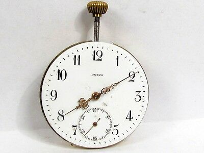 Antique Omega 15 Jewel Manual Wind Pocket Watch Movement Runs 44.1 mm