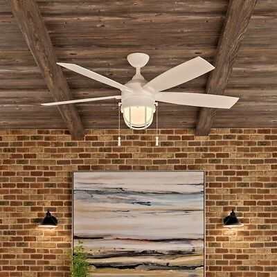 5 blade outdoor indoor 52 lighthouse ceiling fan patio beach caged white ceiling fan with light kit lighthouse patio beach caged globe light 52 in aloadofball Image collections