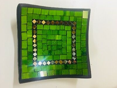 bowl plate decorative display dish modern mosaic glass Handmade square decor