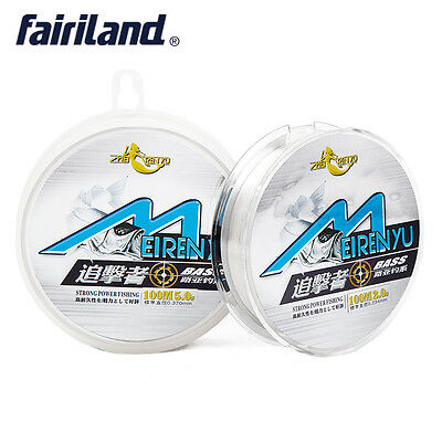 UK 100m Fluorocarbon Fishing line clear super monofilament Japan material nylon