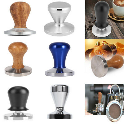 Wood & Stainless Steel Coffee Tamper Curved Base Espresso Beans Press Tool DY