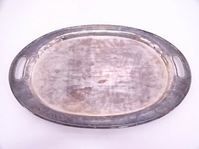 3476566: VINTAGE JAPANESE SILVER OVAL HANDLED TRAY w/ CASE  2500g