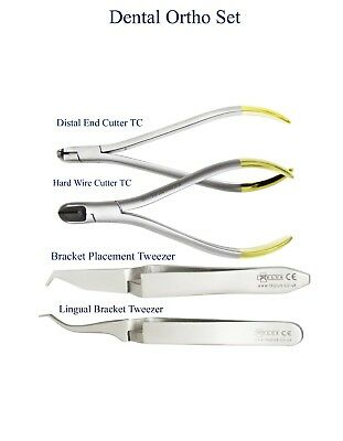 Dental Ortho Set Hard wire Distal End Cutter Lingual Bracket Placement Tweezers