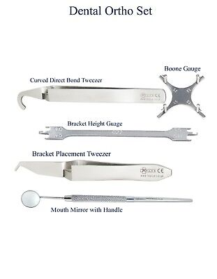 Dental Orthodontic Boone Gauge Bracket Placement Tweezer Mirror handle Ortho Set